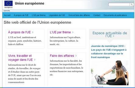 Le site web officiel de l'Union européenne