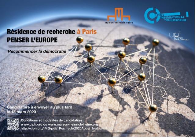 Résidence de recherche à Paris -Penser l'Europe, Recommencer la démocratie