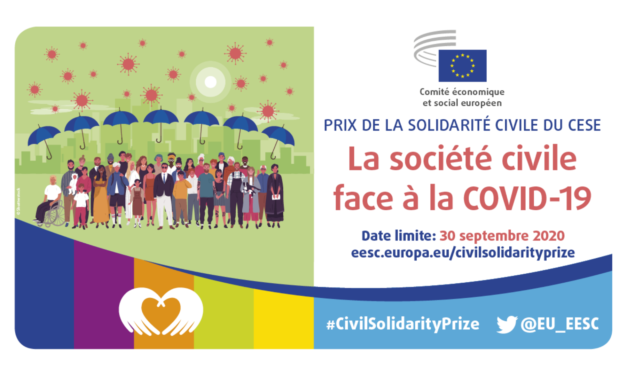 Ouverture des candidatures pour l'attribution du prix de la solidarité civile du CESE consacré à la lutte contre le coronavirus