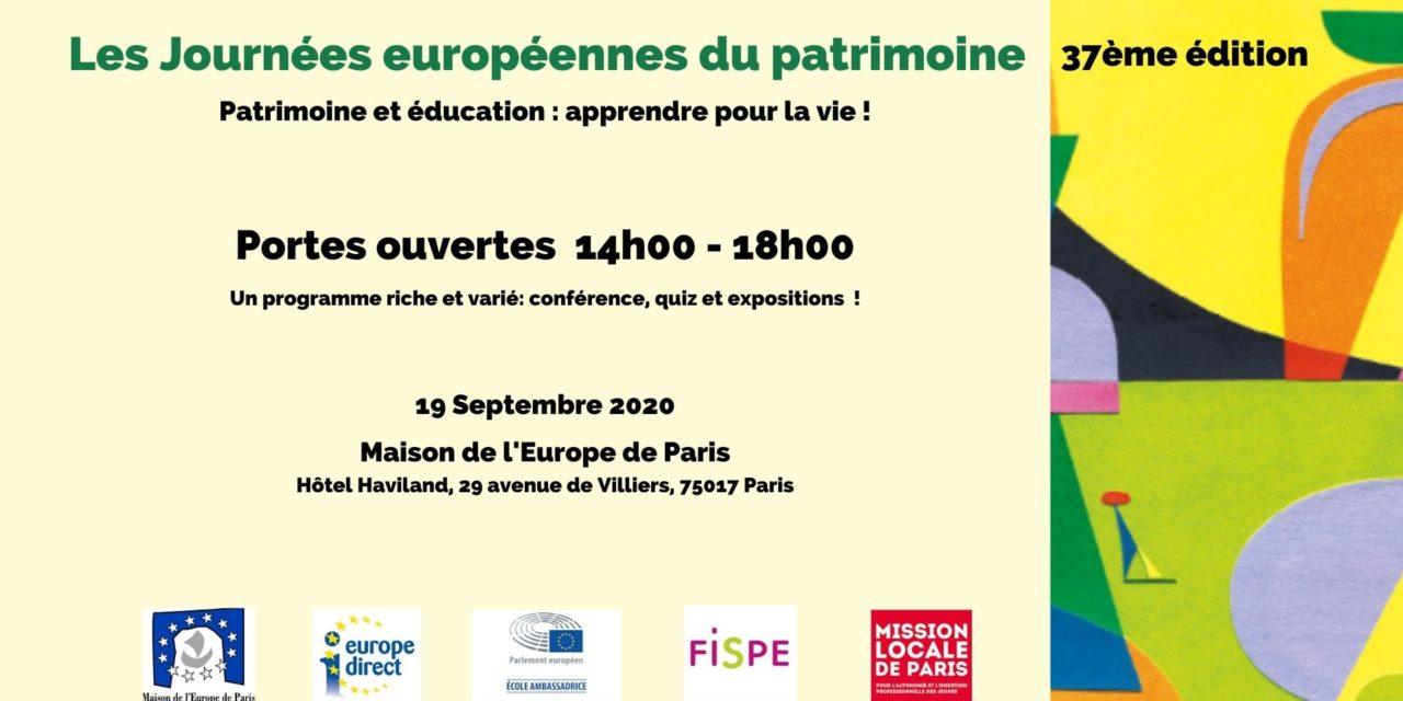Journée européenne du patrimoine « Patrimoine et éducation : Apprendre pour la vie ! » – 37ème édition – Portes ouvertes