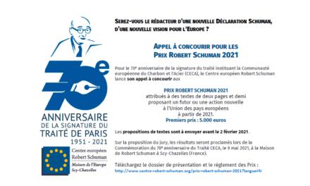 Appel à candidature – Prix Robert Schuman 2021
